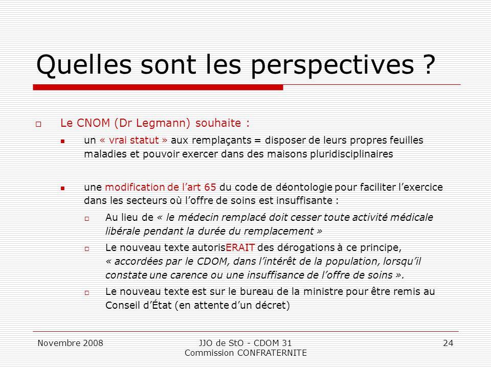 Novembre 2008JJO de StO - CDOM 31 Commission CONFRATERNITE 24 Quelles sont les perspectives ?  Le CNOM (Dr Legmann) souhaite : un « vrai statut » aux