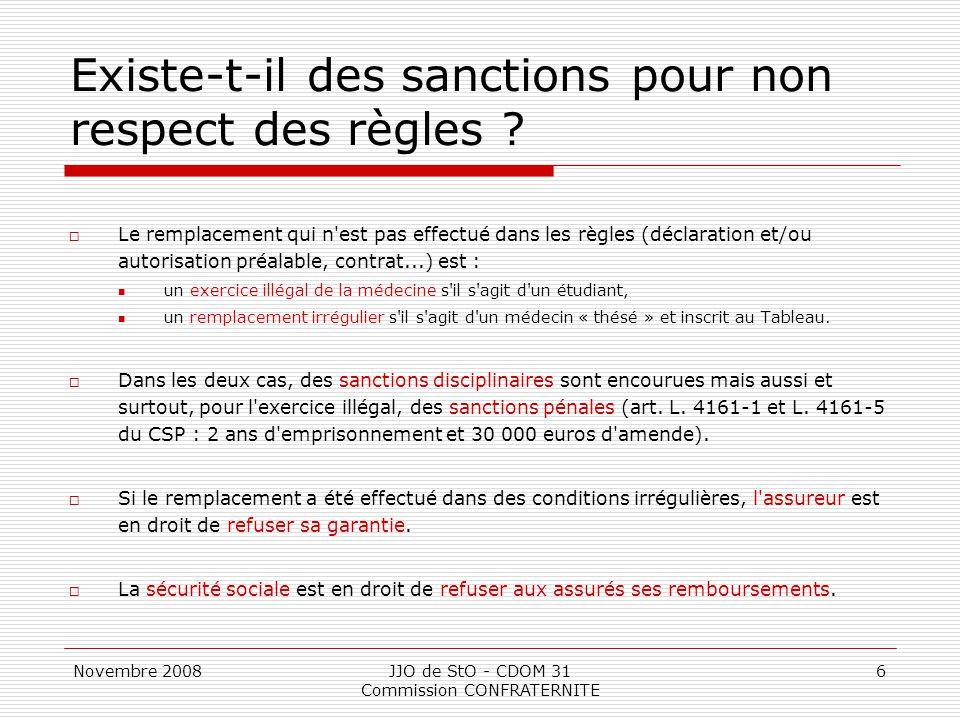 Novembre 2008JJO de StO - CDOM 31 Commission CONFRATERNITE 6 Existe-t-il des sanctions pour non respect des règles ?  Le remplacement qui n'est pas e