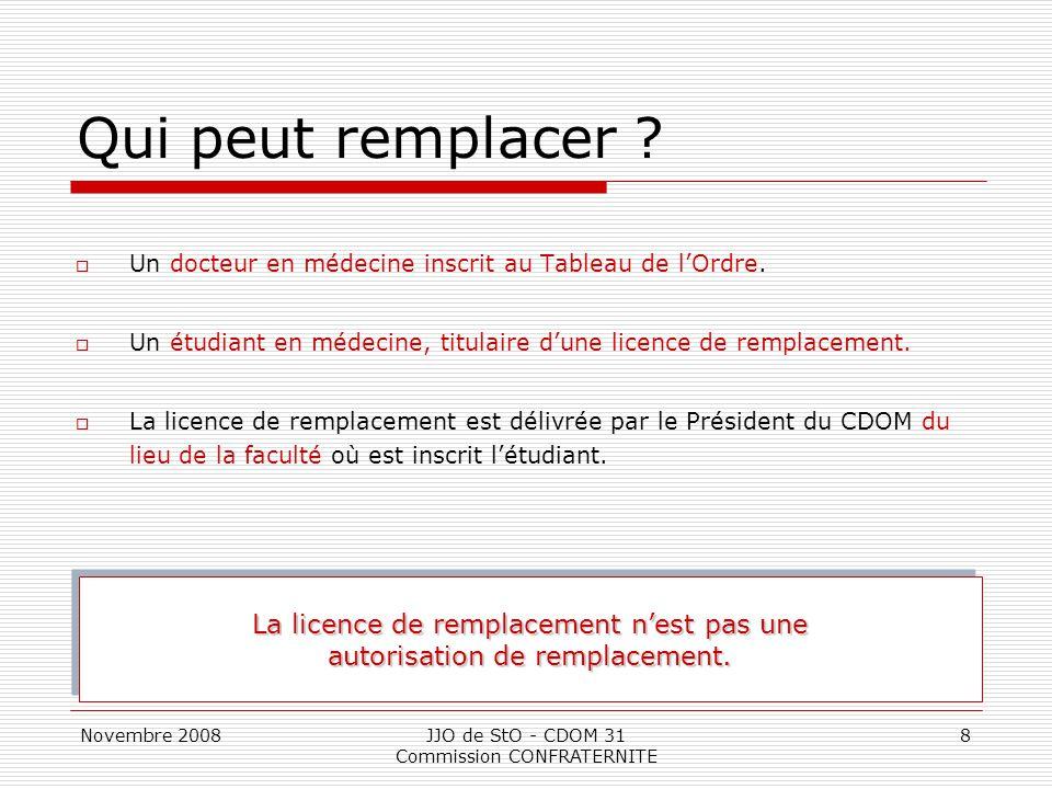 Novembre 2008JJO de StO - CDOM 31 Commission CONFRATERNITE 8 Qui peut remplacer ?  Un docteur en médecine inscrit au Tableau de l'Ordre.  Un étudian