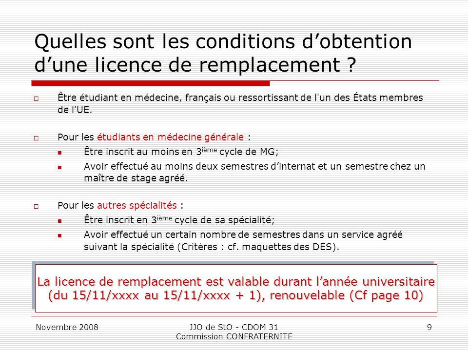 Novembre 2008JJO de StO - CDOM 31 Commission CONFRATERNITE 9 Quelles sont les conditions d'obtention d'une licence de remplacement ?  Être étudiant e