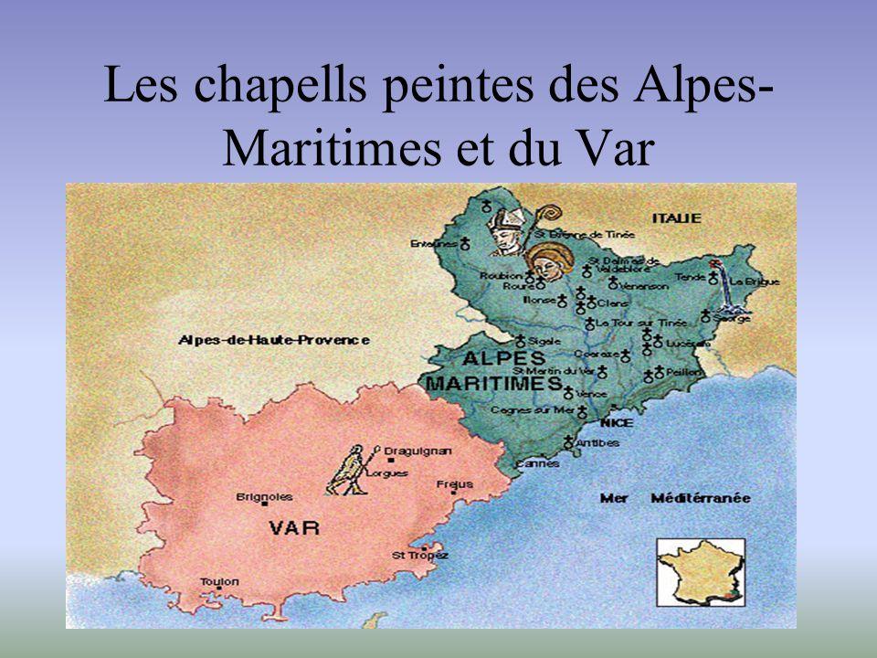 Chapelle Saint-Érige, Auron - Niche centrale entre les deux absides et baldaquin - - Vue d ensemble : cycle de la vie de sainte Marie-Madeleine -