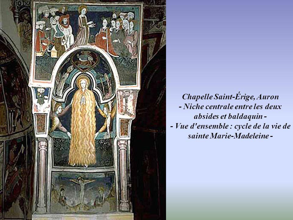 Chapelle Saint-Érige, Auron Abside de droite - Vue d'ensemble : cycle de la vie de Saint Érige -