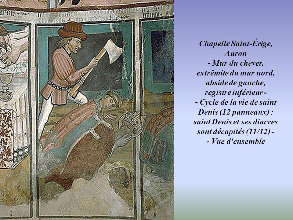 Chapelle Saint-Érige, Auron - Niche centrale entre les deux absides et baldaquin - - Vue d'ensemble : cycle de la vie de sainte Marie-Madeleine -