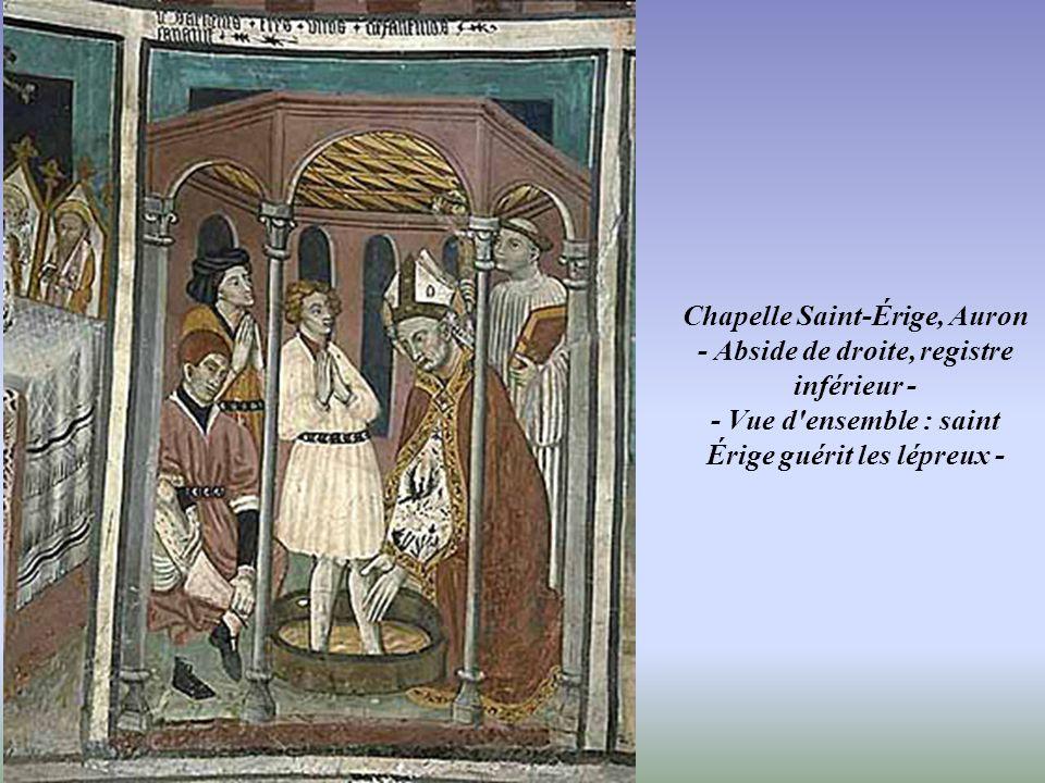 Chapelle Saint-Érige, Auron - Mur du chevet, extrêmité du mur nord, abside de gauche, registre inférieur - - Cycle de la vie de saint Denis (12 pannea