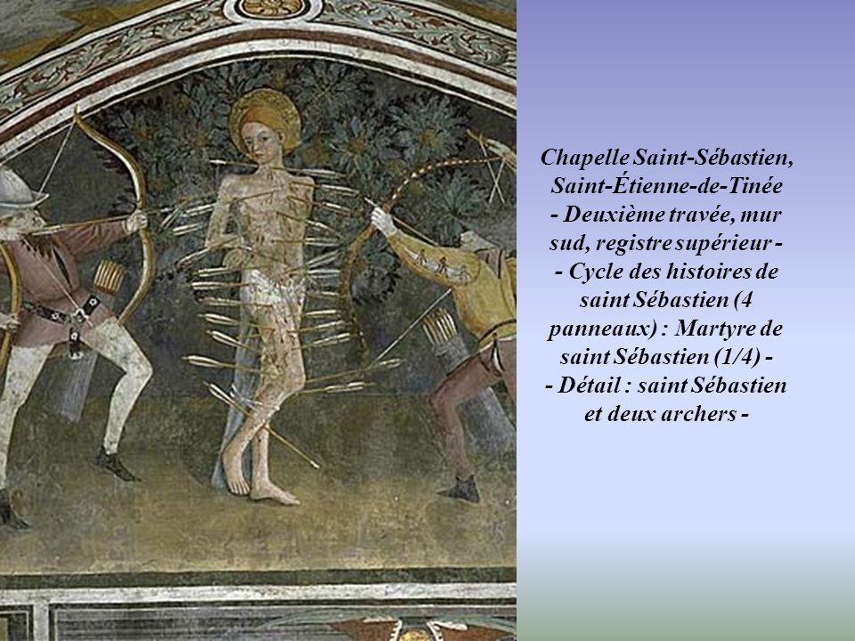 Chapelle Saint-Sébastien, Saint-Étienne-de-Tinée - Deuxième travée, mur sud, registre inférieur - - Cycle des histoires de saint Sébastien (4 panneaux
