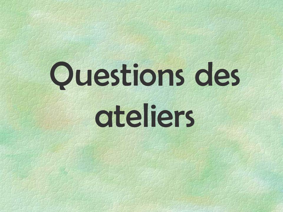 Questions des ateliers
