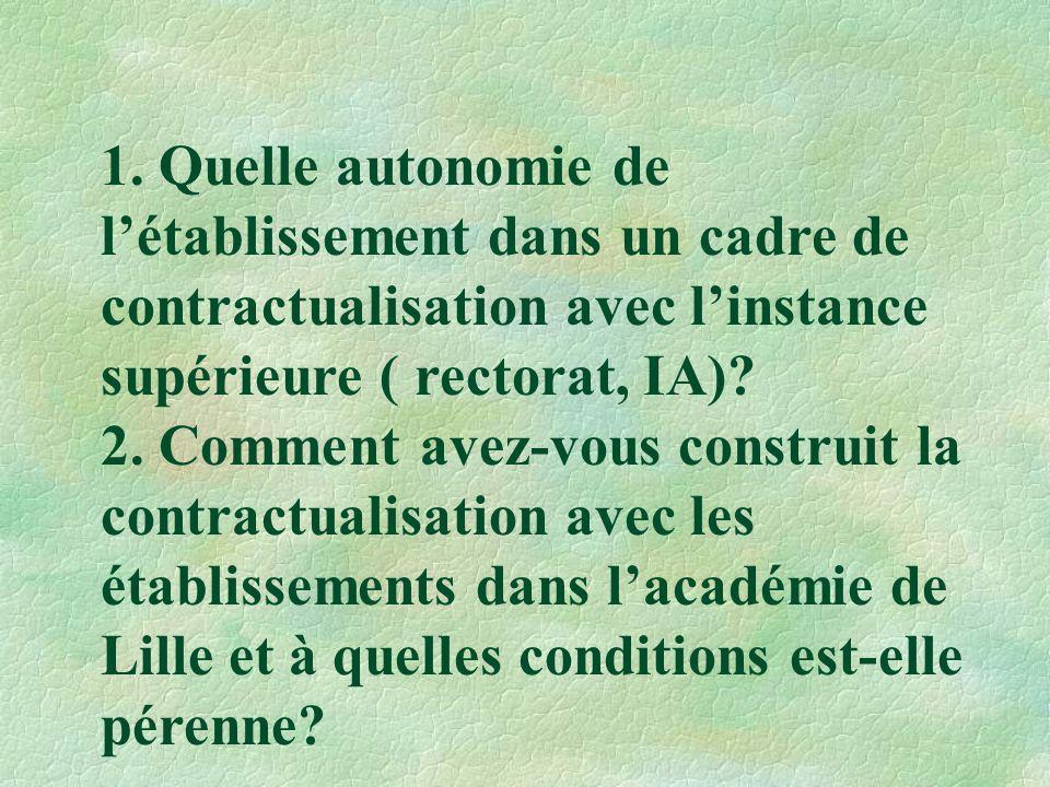1. Quelle autonomie de l'établissement dans un cadre de contractualisation avec l'instance supérieure ( rectorat, IA)? 2. Comment avez-vous construit