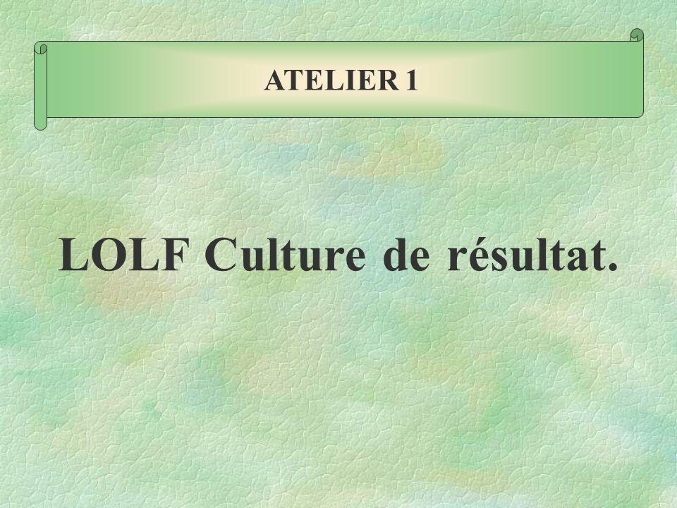 LOLF Culture de résultat. ATELIER 1