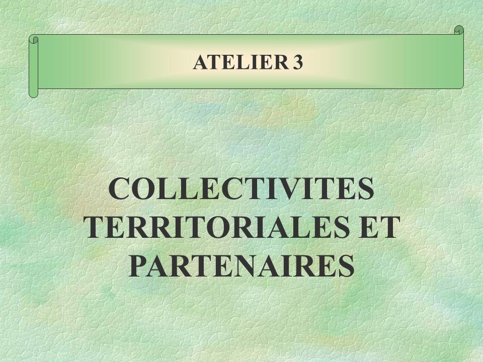 COLLECTIVITES TERRITORIALES ET PARTENAIRES ATELIER 3