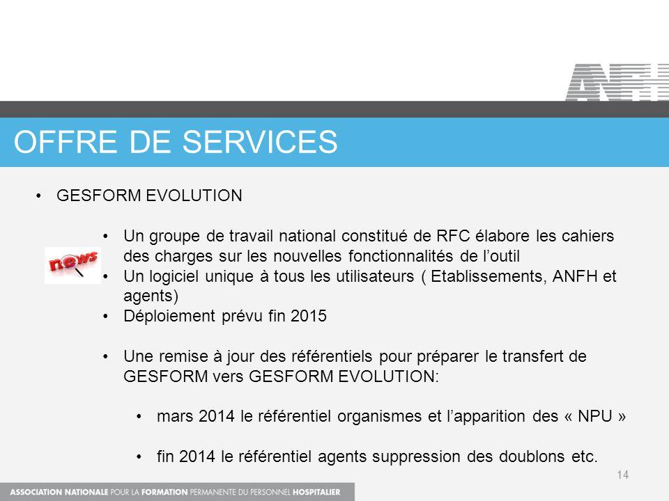 OFFRE DE SERVICES 14 GESFORM EVOLUTION Un groupe de travail national constitué de RFC élabore les cahiers des charges sur les nouvelles fonctionnalité