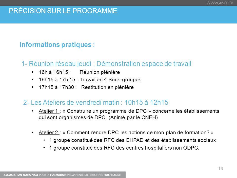 Informations pratiques : 1- Réunion réseau jeudi : Démonstration espace de travail  16h à 16h15 : Réunion plénière  16h15 à 17h 15 : Travail en 4 So