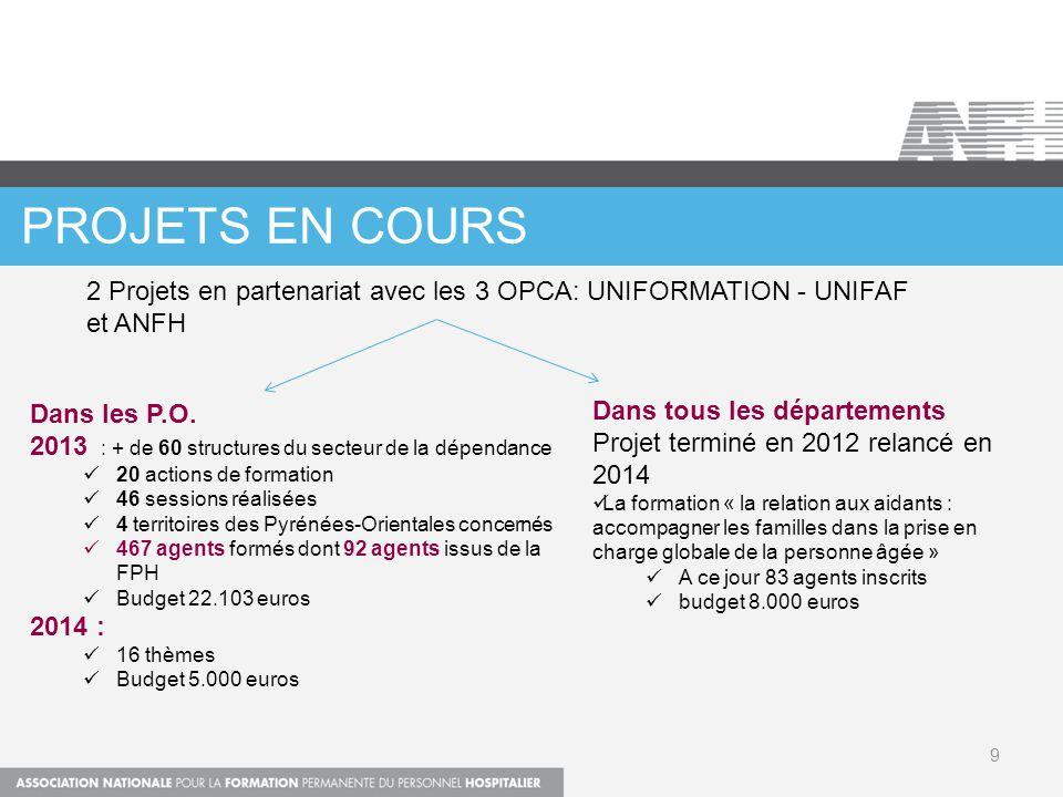 PROJETS EN COURS 9 Dans les P.O. 2013 : + de 60 structures du secteur de la dépendance 20 actions de formation 46 sessions réalisées 4 territoires des