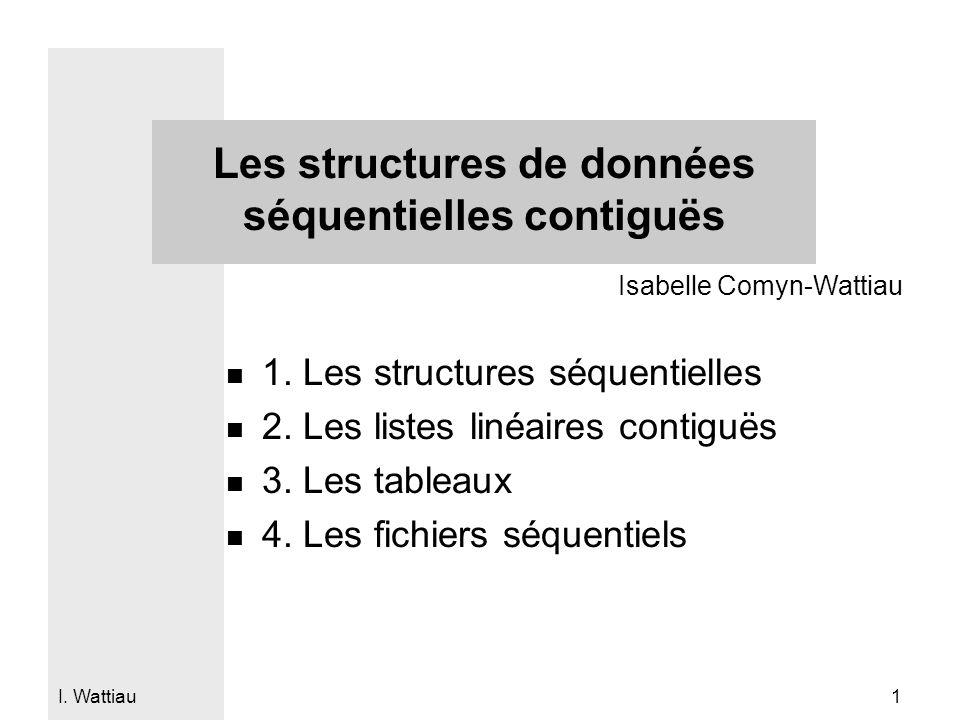 I. Wattiau 1 Les structures de données séquentielles contiguës n 1. Les structures séquentielles n 2. Les listes linéaires contiguës n 3. Les tableaux