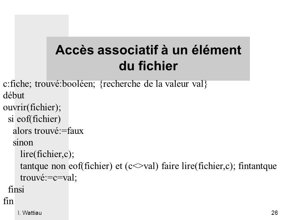 I. Wattiau 26 Accès associatif à un élément du fichier c:fiche; trouvé:booléen; {recherche de la valeur val} début ouvrir(fichier); si eof(fichier) al