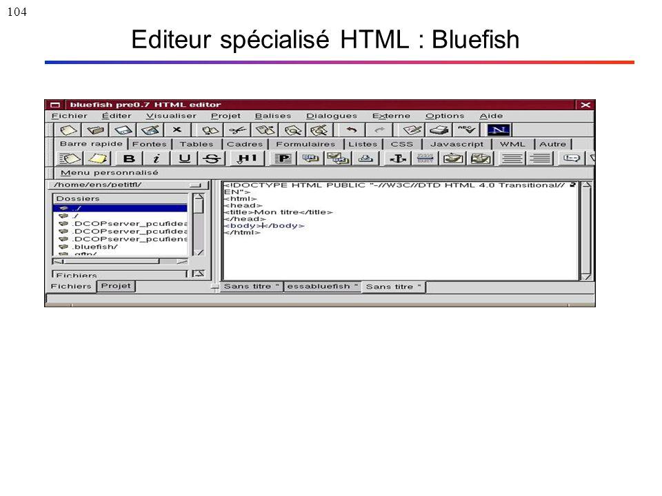 104 Editeur spécialisé HTML : Bluefish