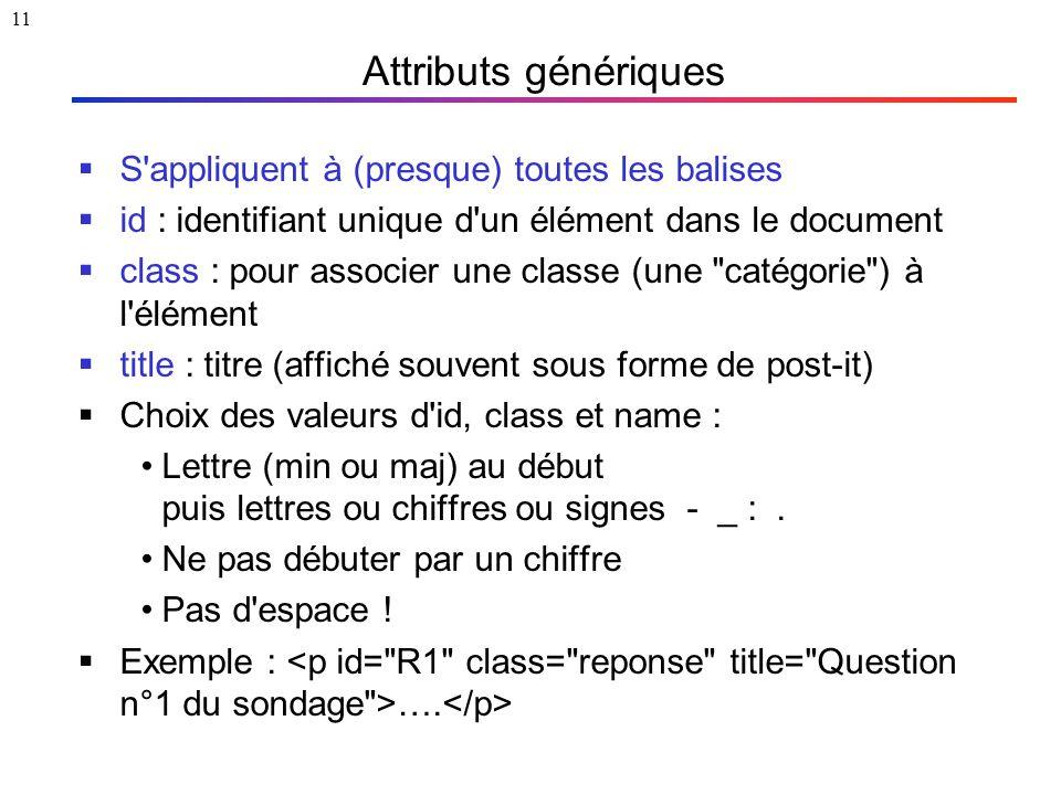 11 Attributs génériques  S'appliquent à (presque) toutes les balises  id : identifiant unique d'un élément dans le document  class : pour associer