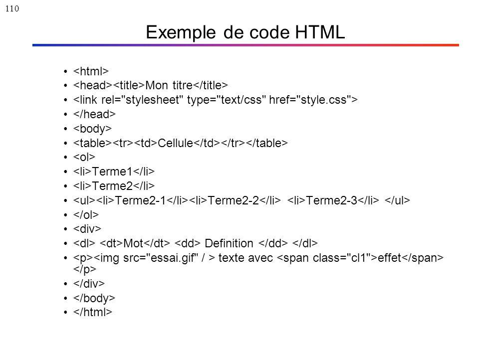 110 Exemple de code HTML Mon titre Cellule Terme1 Terme2 Terme2-1 Terme2-2 Terme2-3 Mot Definition texte avec effet