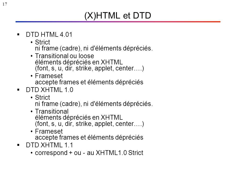 17 (X)HTML et DTD  DTD HTML 4.01 Strict ni frame (cadre), ni d'éléments dépréciés. Transitional ou loose éléments dépréciés en XHTML (font, s, u, dir