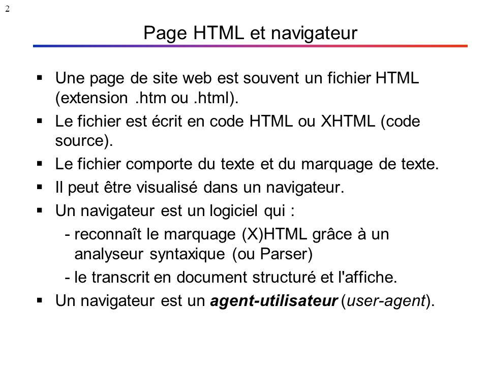 2 Page HTML et navigateur  Une page de site web est souvent un fichier HTML (extension.htm ou.html).  Le fichier est écrit en code HTML ou XHTML (co