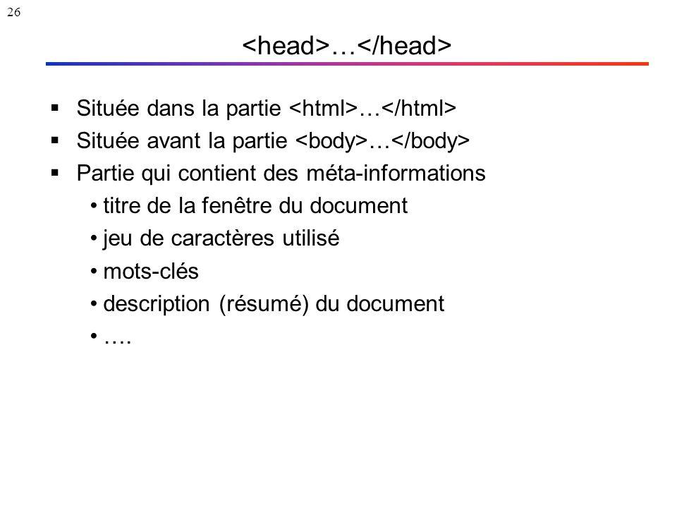 26 …  Située dans la partie …  Située avant la partie …  Partie qui contient des méta-informations titre de la fenêtre du document jeu de caractère