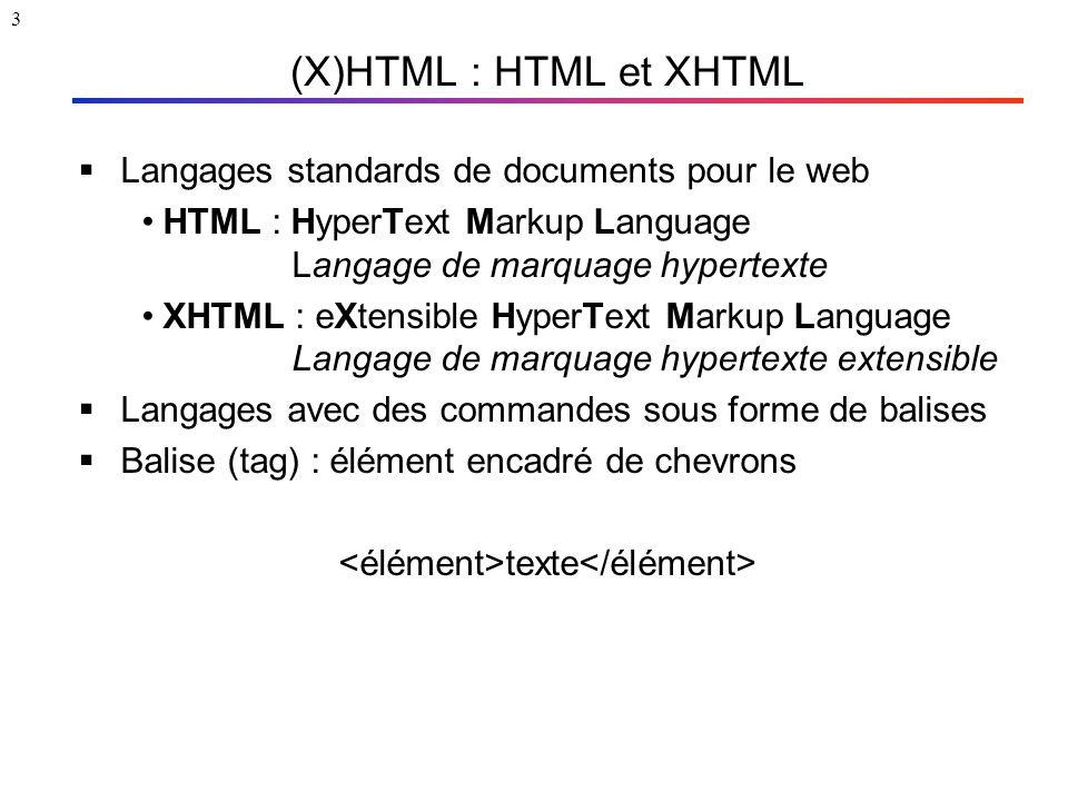 3 (X)HTML : HTML et XHTML  Langages standards de documents pour le web HTML : HyperText Markup Language Langage de marquage hypertexte XHTML : eXtens