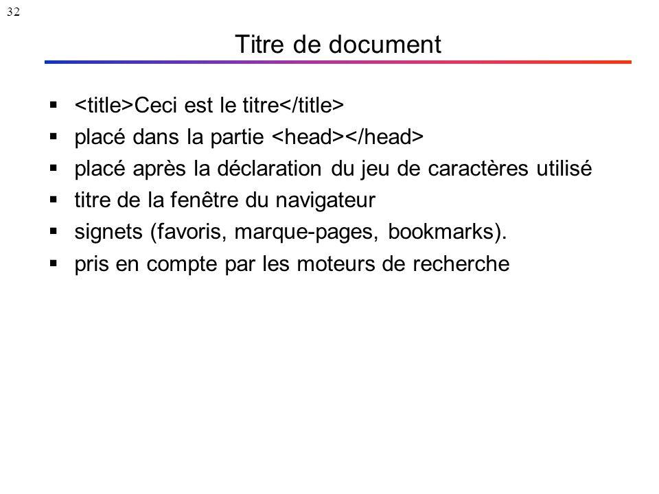 32 Titre de document  Ceci est le titre  placé dans la partie  placé après la déclaration du jeu de caractères utilisé  titre de la fenêtre du nav