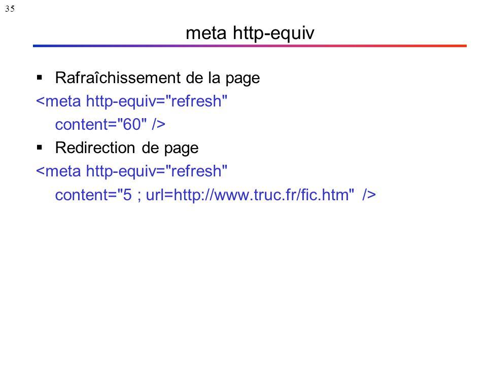 35 meta http-equiv  Rafraîchissement de la page <meta http-equiv=