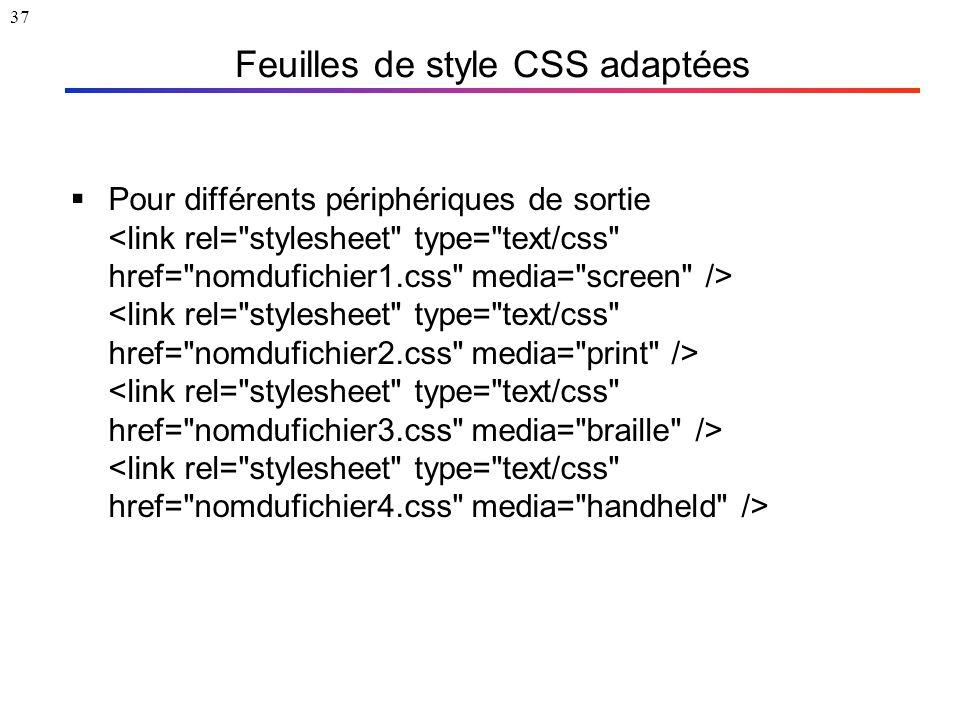 37 Feuilles de style CSS adaptées  Pour différents périphériques de sortie