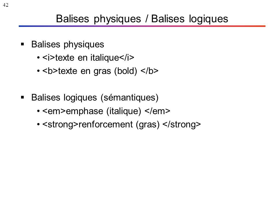 42 Balises physiques / Balises logiques  Balises physiques texte en italique texte en gras (bold)  Balises logiques (sémantiques) emphase (italique)