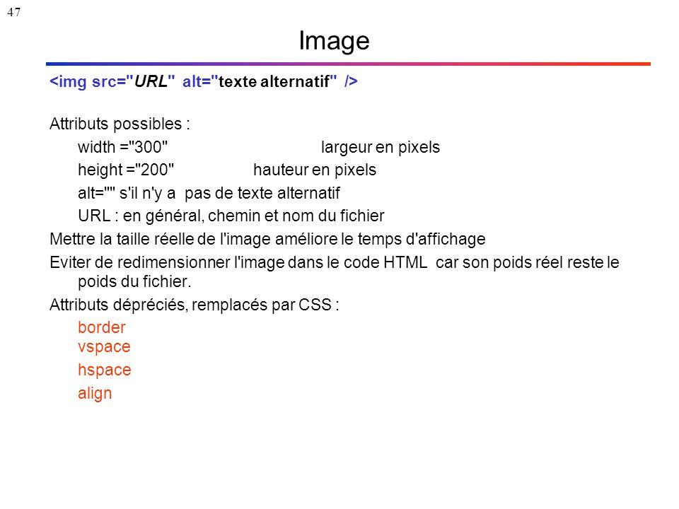47 Image Attributs possibles : width = 300 largeur en pixels height = 200 hauteur en pixels alt= s il n y a pas de texte alternatif URL : en général, chemin et nom du fichier Mettre la taille réelle de l image améliore le temps d affichage Eviter de redimensionner l image dans le code HTML car son poids réel reste le poids du fichier.