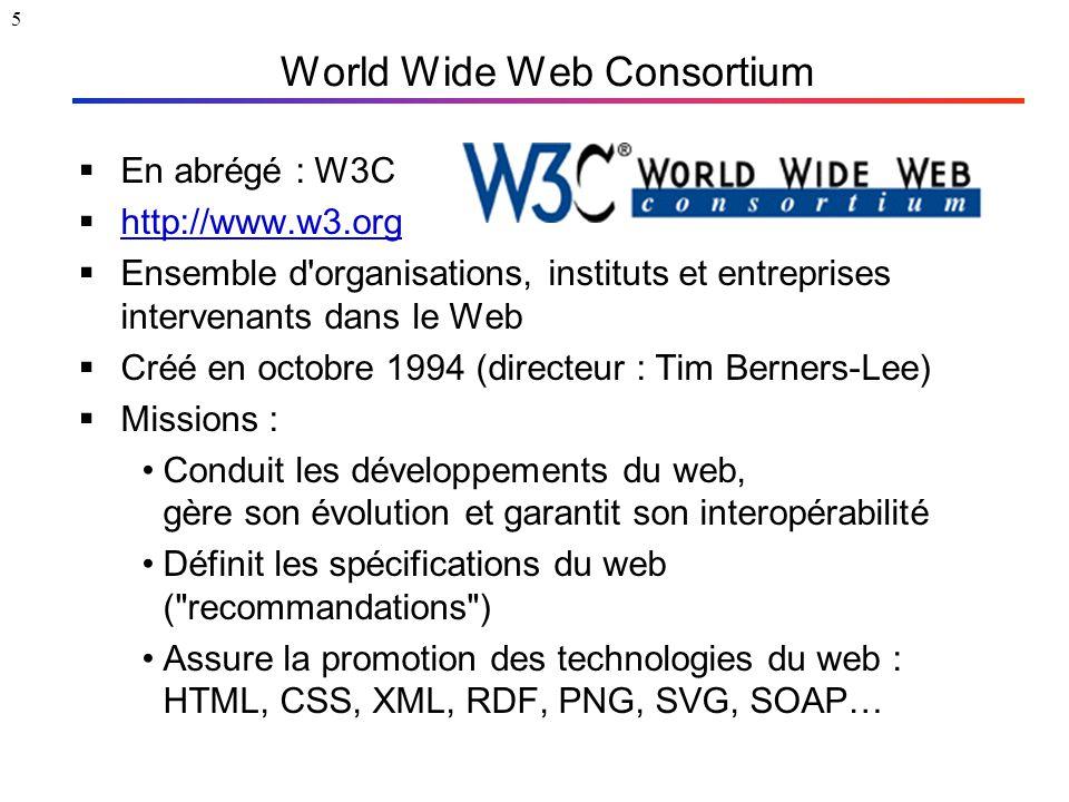 5 World Wide Web Consortium  En abrégé : W3C  http://www.w3.org http://www.w3.org  Ensemble d'organisations, instituts et entreprises intervenants