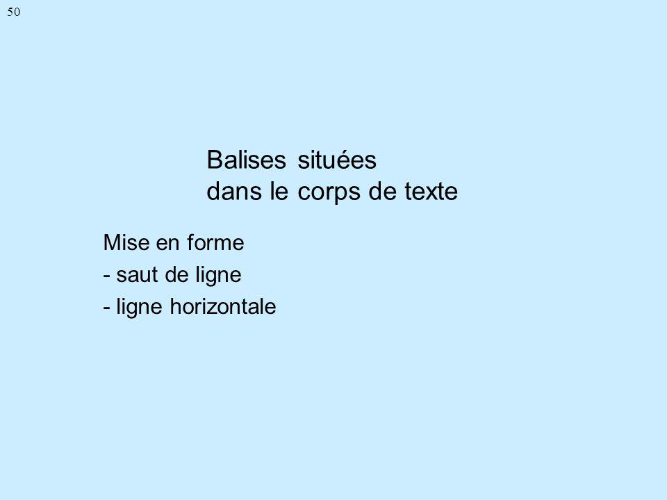50 Balises situées dans le corps de texte Mise en forme - saut de ligne - ligne horizontale