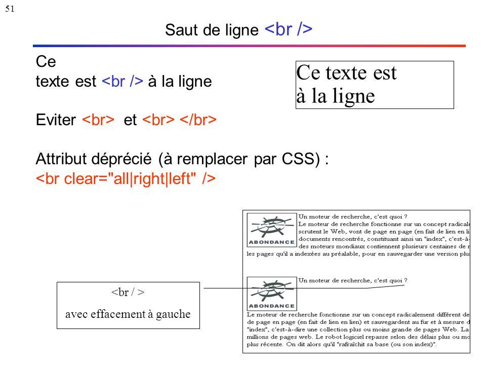 51 Saut de ligne Ce texte est à la ligne Eviter et Attribut déprécié (à remplacer par CSS) : Ce texte est à la ligne avec effacement à gauche
