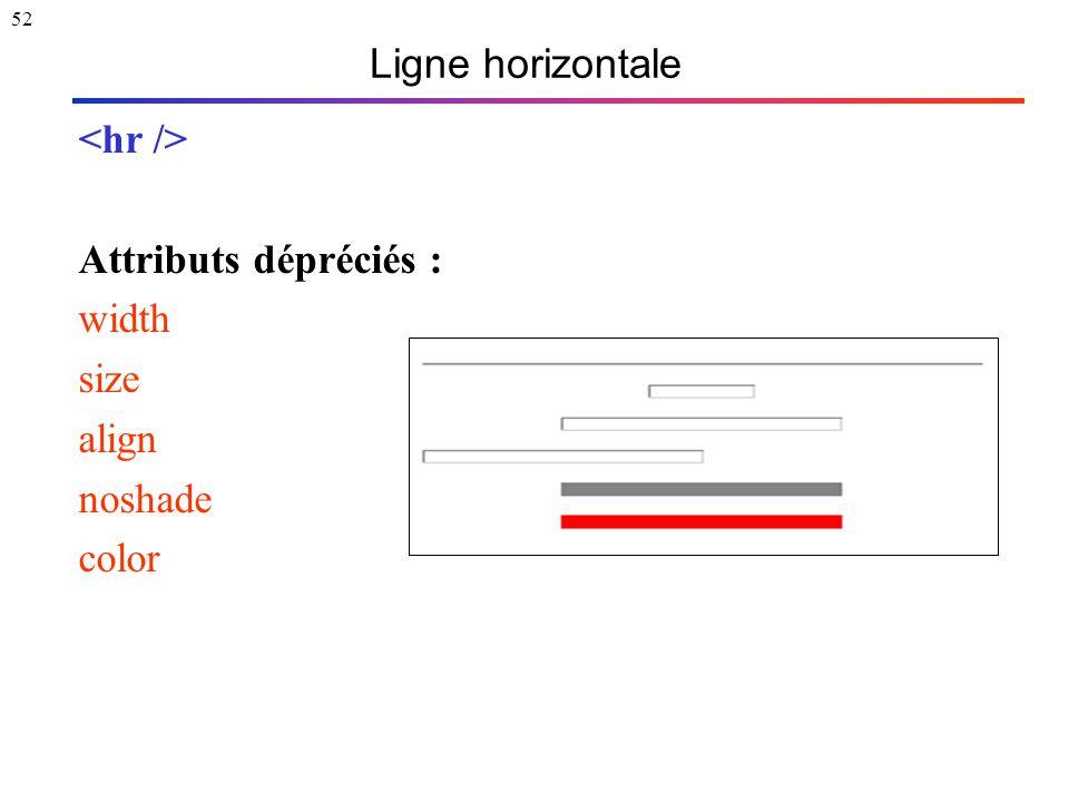 52 Ligne horizontale Attributs dépréciés : width size align noshade color