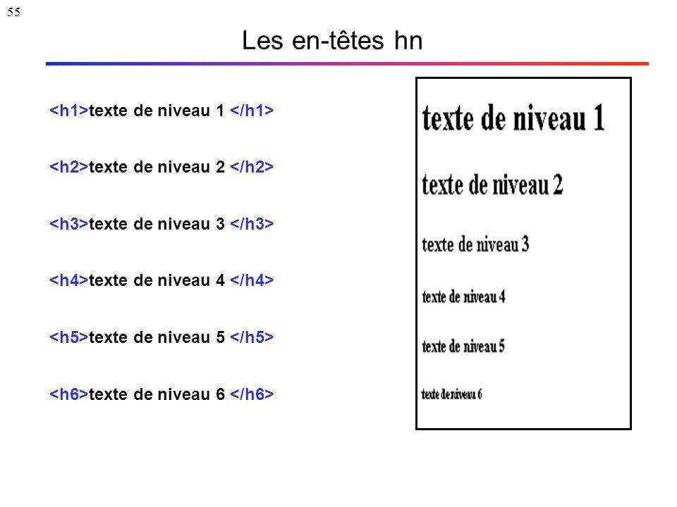55 Les en-têtes hn texte de niveau 1 texte de niveau 2 texte de niveau 3 texte de niveau 4 texte de niveau 5 texte de niveau 6