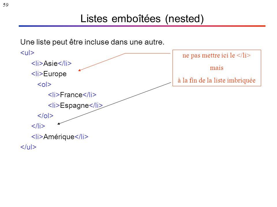 59 Listes emboîtées (nested) Une liste peut être incluse dans une autre. Asie Europe France Espagne Amérique ne pas mettre ici le mais à la fin de la