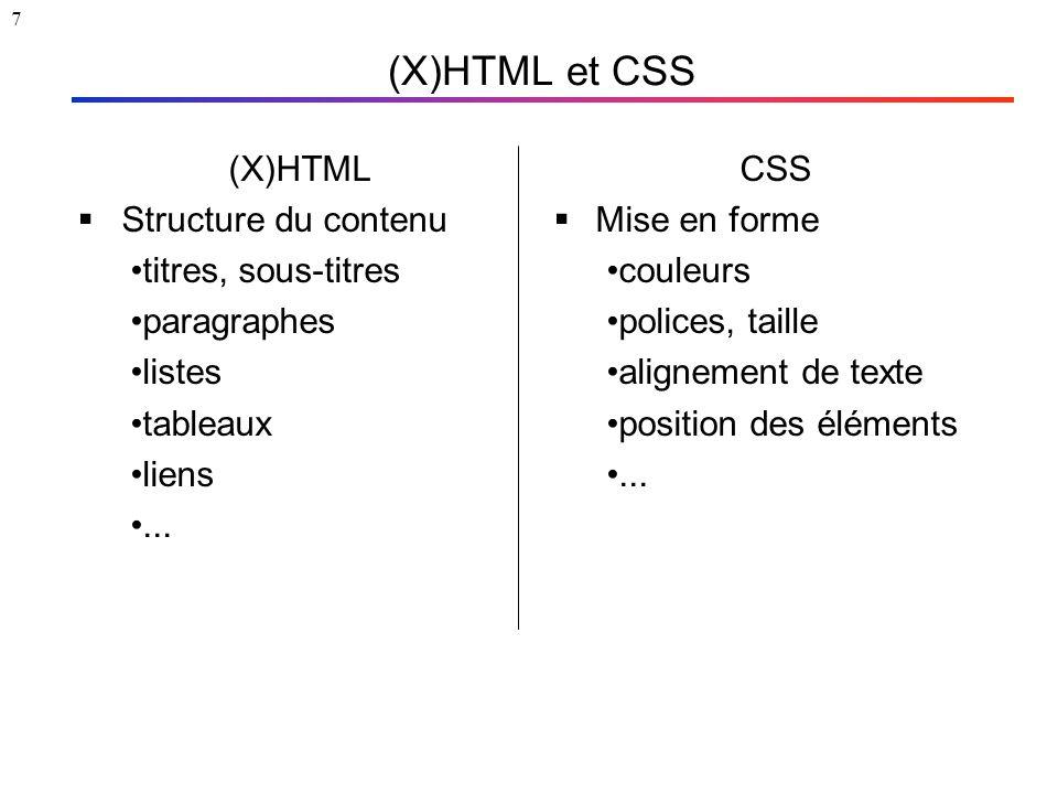 7 (X)HTML et CSS (X)HTML  Structure du contenu titres, sous-titres paragraphes listes tableaux liens... CSS  Mise en forme couleurs polices, taille