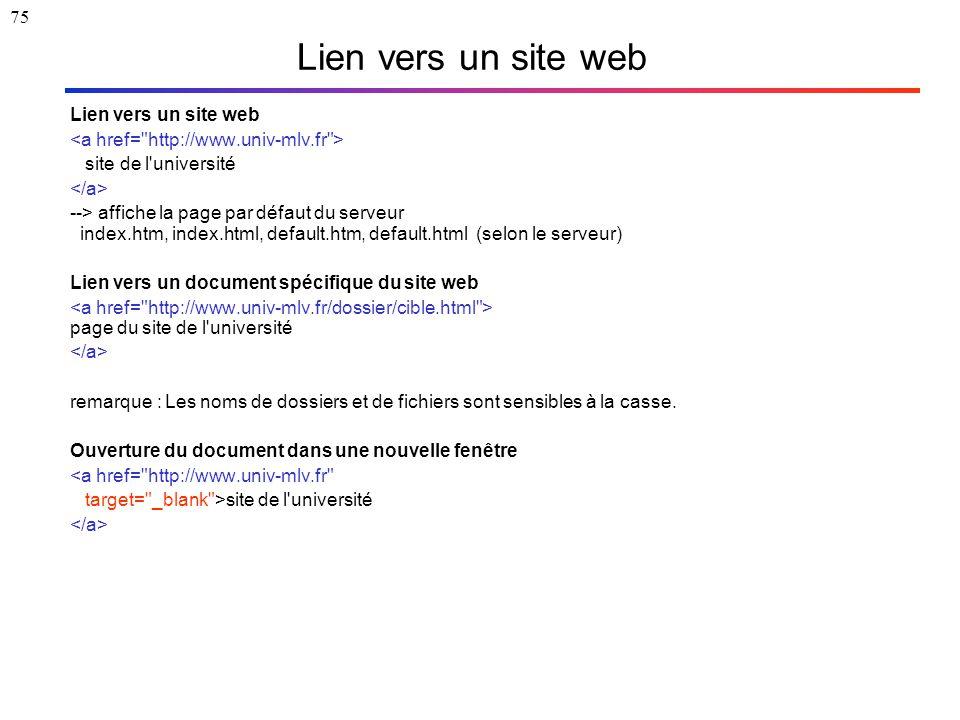 75 Lien vers un site web site de l'université --> affiche la page par défaut du serveur index.htm, index.html, default.htm, default.html (selon le ser