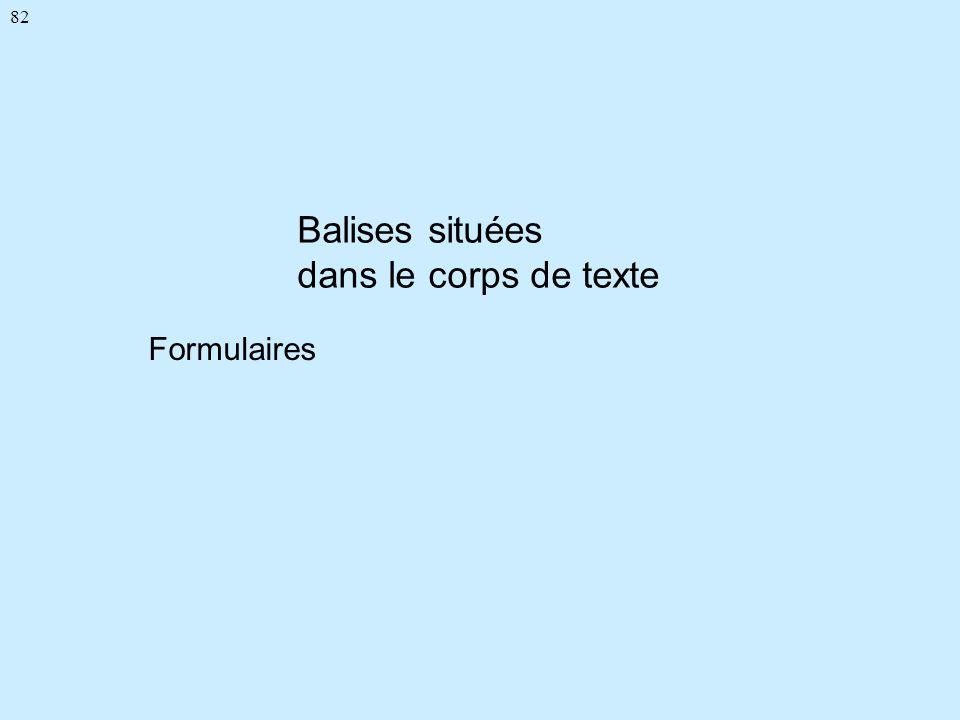 82 Balises situées dans le corps de texte Formulaires