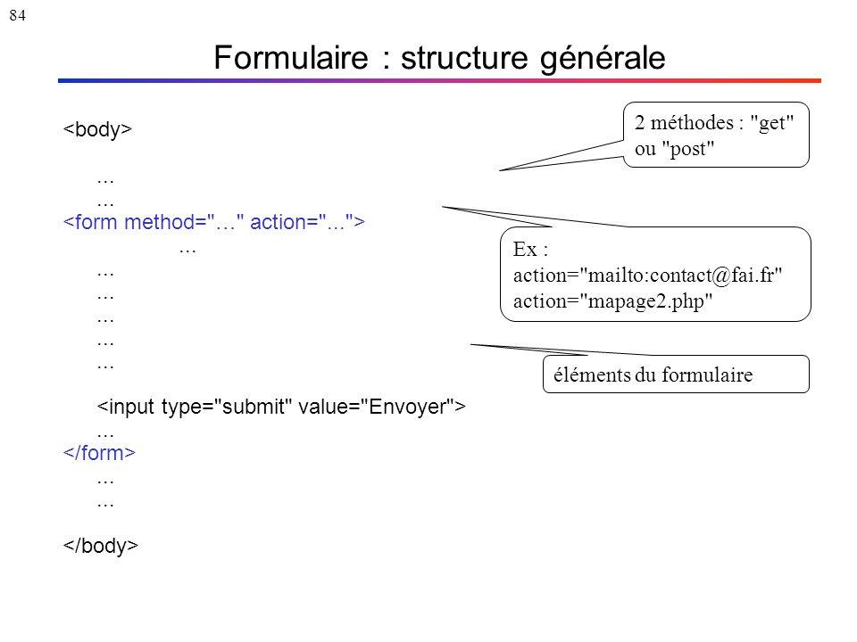 84 Formulaire : structure générale............... 2 méthodes :