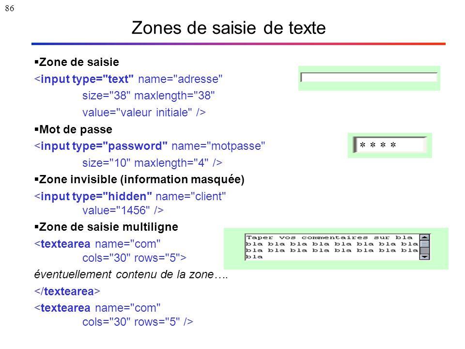 86 Zones de saisie de texte  Zone de saisie <input type=