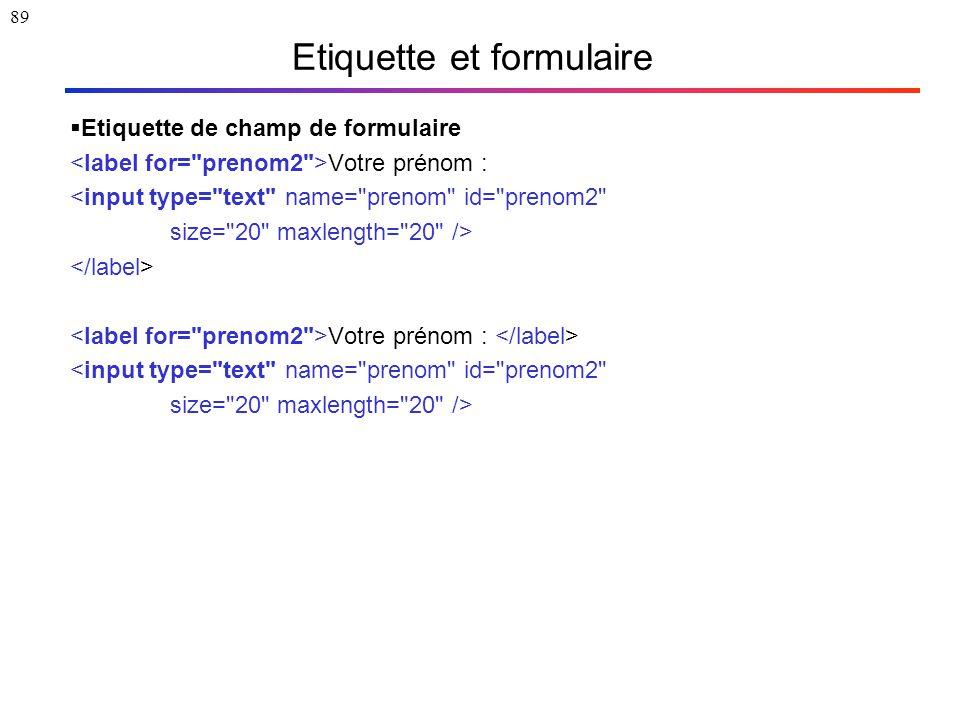 89 Etiquette et formulaire  Etiquette de champ de formulaire Votre prénom : <input type=
