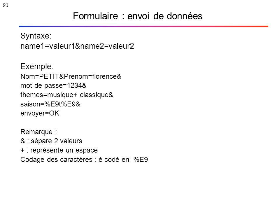 91 Formulaire : envoi de données Syntaxe: name1=valeur1&name2=valeur2 Exemple: Nom=PETIT&Prenom=florence& mot-de-passe=1234& themes=musique+ classique