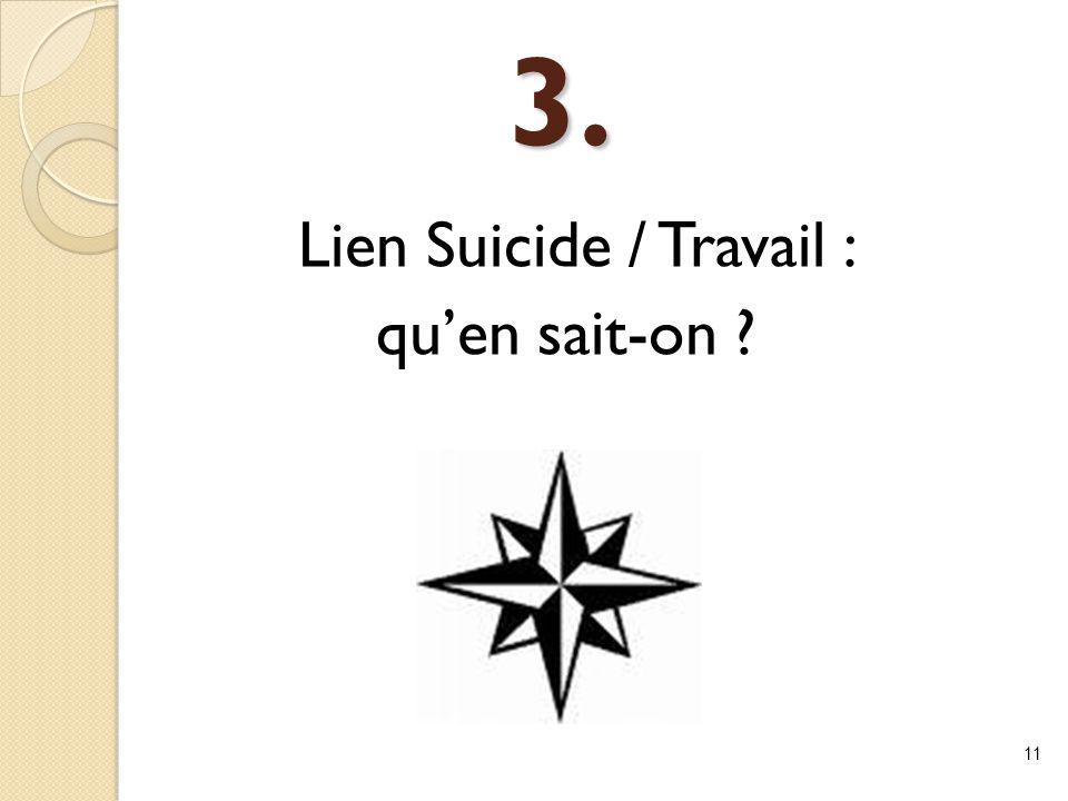 3. Lien Suicide / Travail : qu'en sait-on ? 11