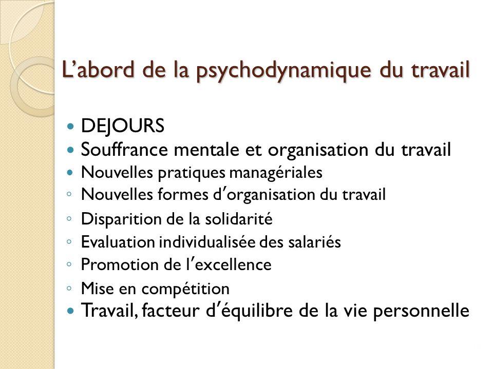 L'abord de la psychodynamique du travail DEJOURS Souffrance mentale et organisation du travail Nouvelles pratiques managériales ◦ Nouvelles formes d'o