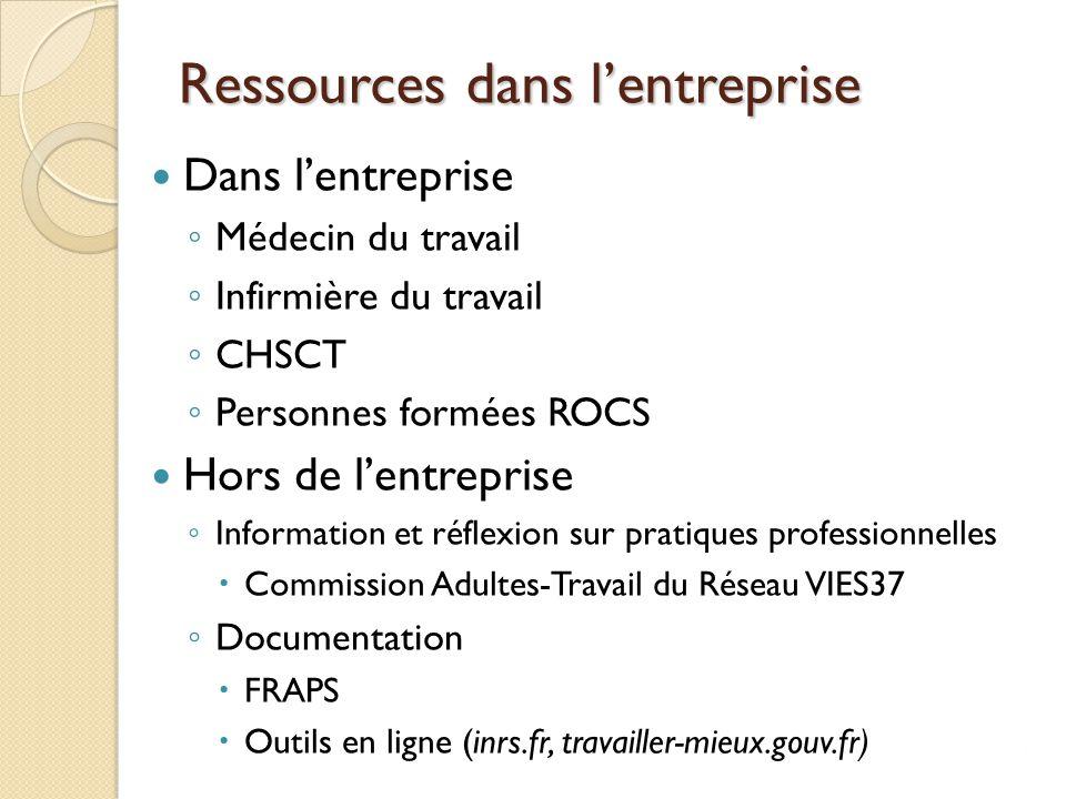 Ressources dans l'entreprise Dans l'entreprise ◦ Médecin du travail ◦ Infirmière du travail ◦ CHSCT ◦ Personnes formées ROCS Hors de l'entreprise ◦ In
