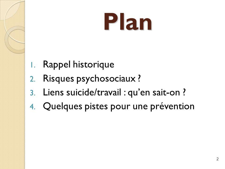 Plan 1. Rappel historique 2. Risques psychosociaux ? 3. Liens suicide/travail : qu'en sait-on ? 4. Quelques pistes pour une prévention 2
