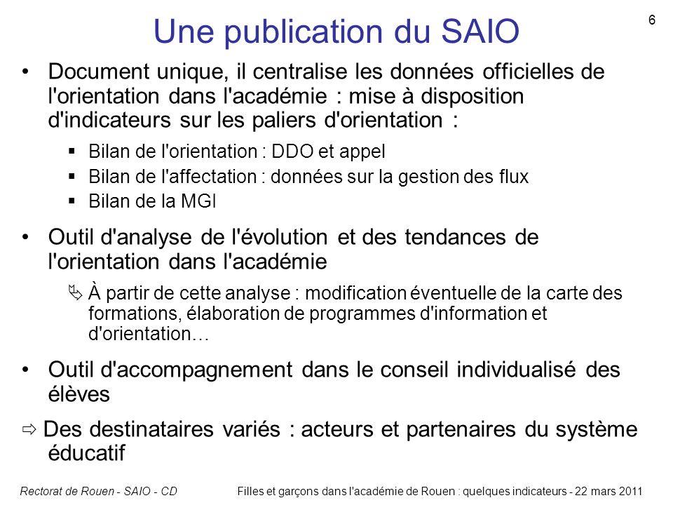 Rectorat de Rouen - SAIO - CD 6 Filles et garçons dans l'académie de Rouen : quelques indicateurs - 22 mars 2011 Une publication du SAIO Document uniq