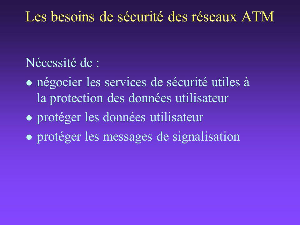 Nécessité de : l négocier les services de sécurité utiles à la protection des données utilisateur l protéger les données utilisateur l protéger les messages de signalisation Les besoins de sécurité des réseaux ATM