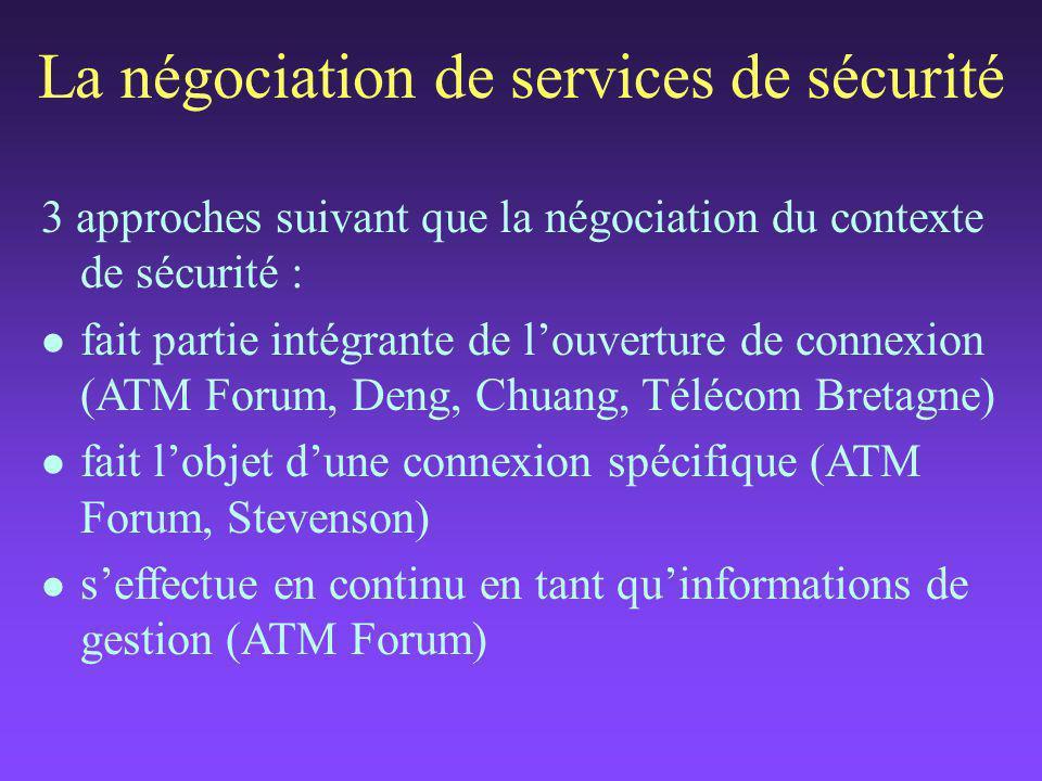 La négociation de services de sécurité 3 approches suivant que la négociation du contexte de sécurité : l fait partie intégrante de l'ouverture de connexion (ATM Forum, Deng, Chuang, Télécom Bretagne) l fait l'objet d'une connexion spécifique (ATM Forum, Stevenson) l s'effectue en continu en tant qu'informations de gestion (ATM Forum)